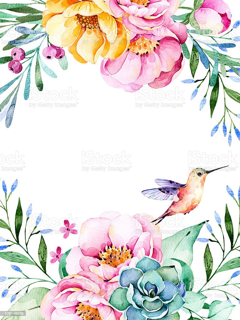 Beautiful watercolor card with roses,flowers,foliage,succulent plant, vector art illustration