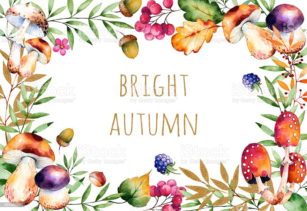 Beautiful watercolor card with text Bright Autumn: autumn leaves,flowers vector art illustration