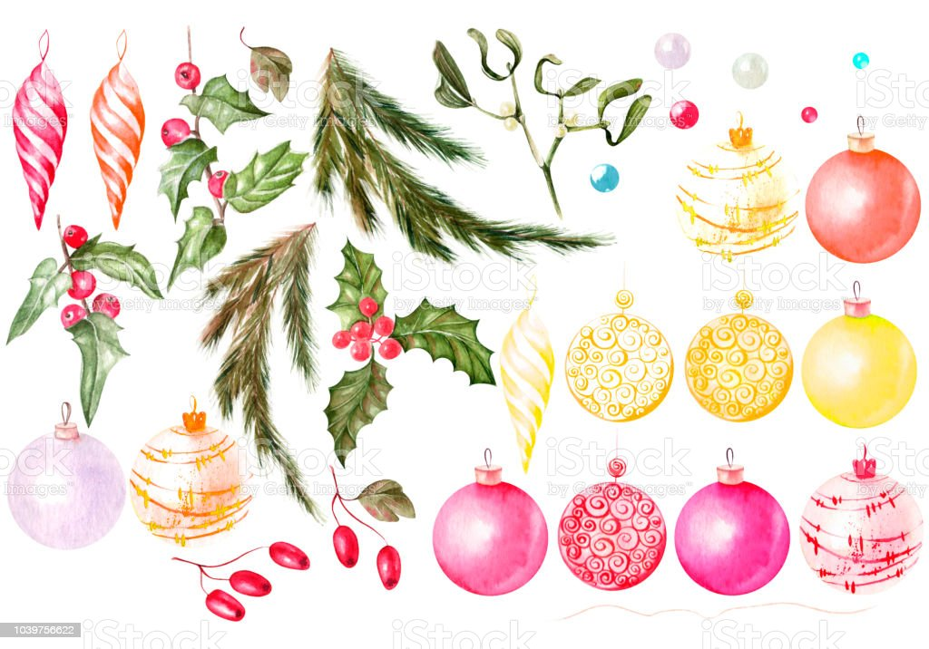 Beautiful Watercolor Christmas Card With Christmas Gifts Toys ...