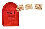 istock Beautiful watercolor drawing of the mailbox. Closeup 1294427702