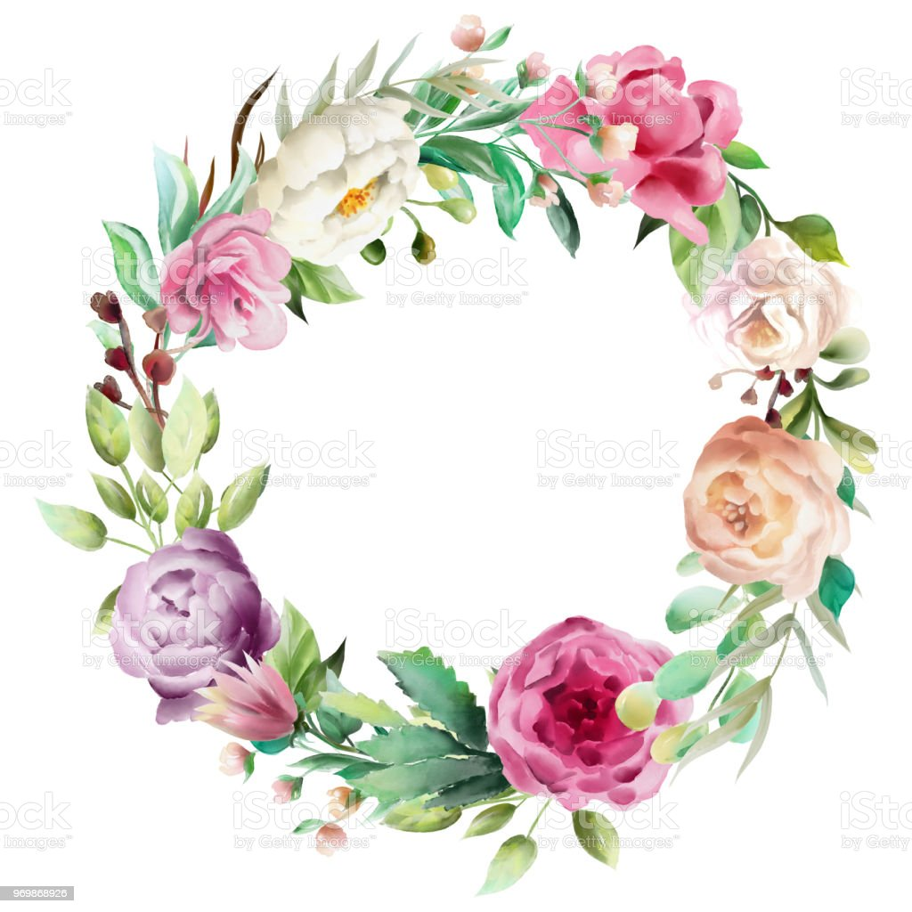 Beautiful Watercolor Floral Bouquet Whimsical Flowers Wreath Circle
