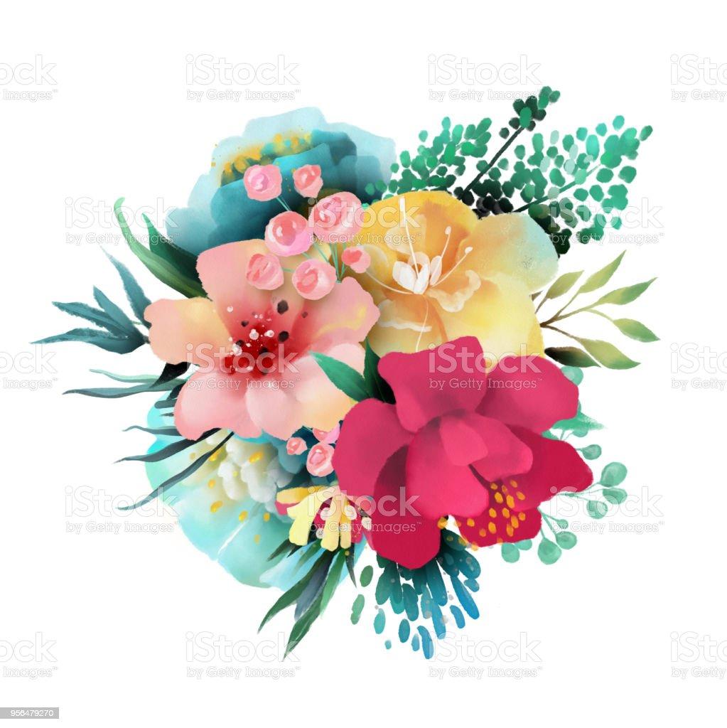 Güzel Suluboya çiçek çiçekler Buket üzerinde Beyaz Izole Stok Vektör