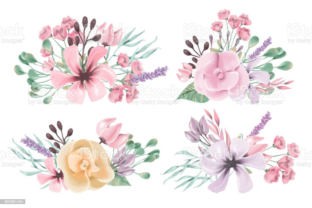 Beautiful Watercolor Floral Flowers Bouquet Set Collection Clipart Royalty Free