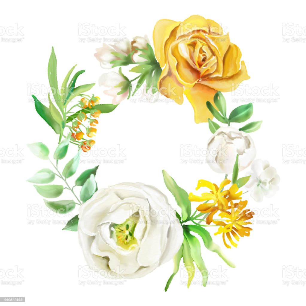 Beautiful Watercolor Floral Frame Wreath Border Yellow Flowers Roses