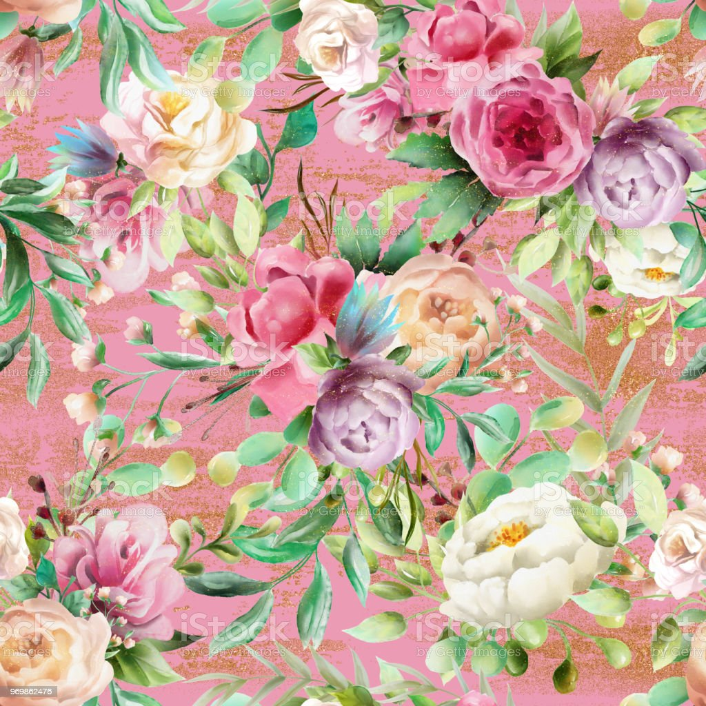 Beautiful watercolor floral seamless pattern violet and cream beautiful watercolor floral seamless pattern violet and cream peoinies pink roses greenery branch izmirmasajfo
