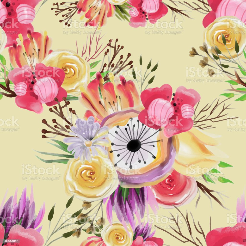Beautiful Watercolor Flower Bouquets Seamless Pattern Stock Vector