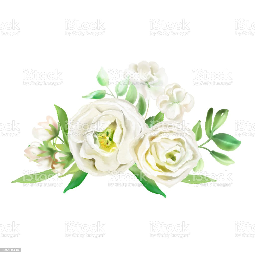 Beautiful Watercolor Flowers Floral Bouquets Wreaths White Flowers