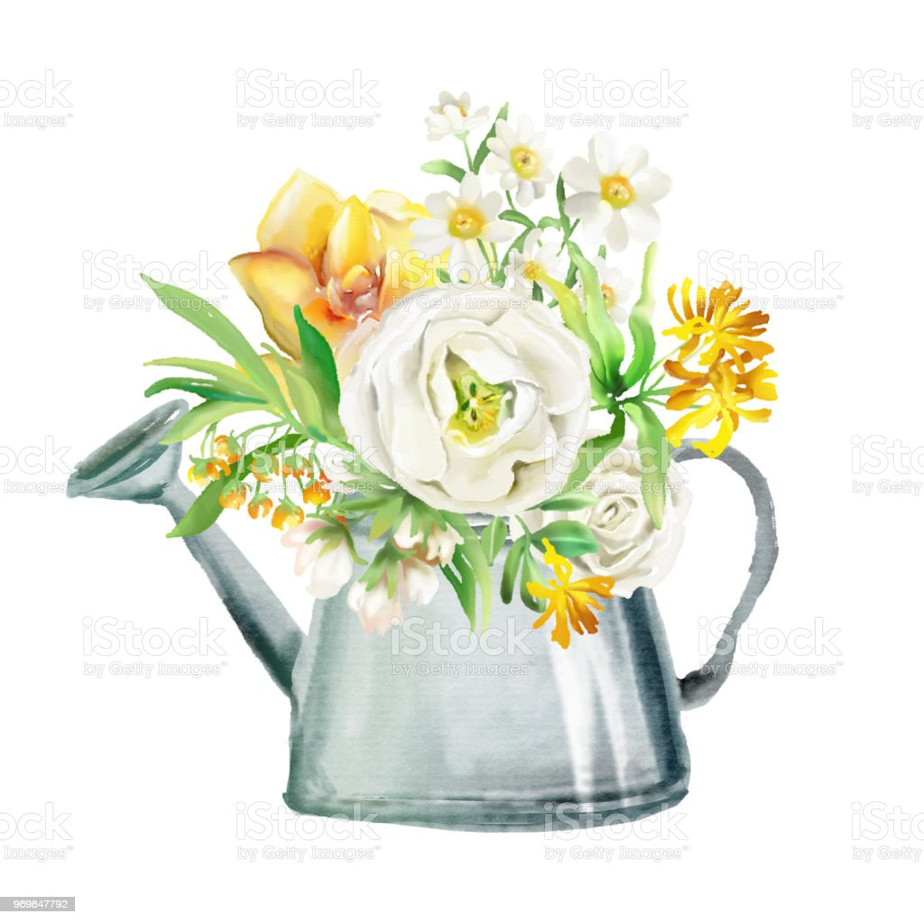 Beautiful Watercolor Flowers Floral Bouquets Wreaths Yellow Flowers