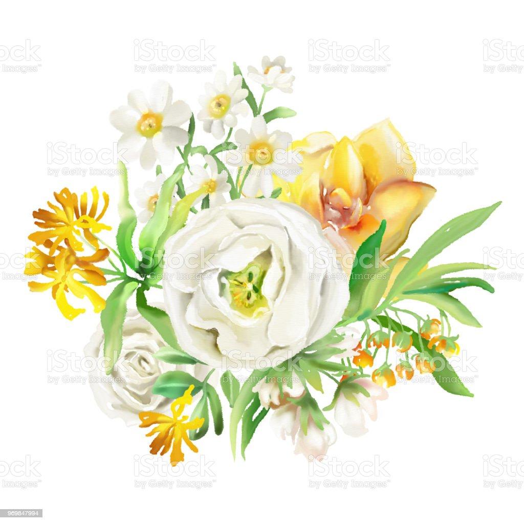Beautiful watercolor flowers floral bouquets wreaths yellow flowers beautiful watercolor flowers floral bouquets wreaths yellow flowers roses peonies izmirmasajfo