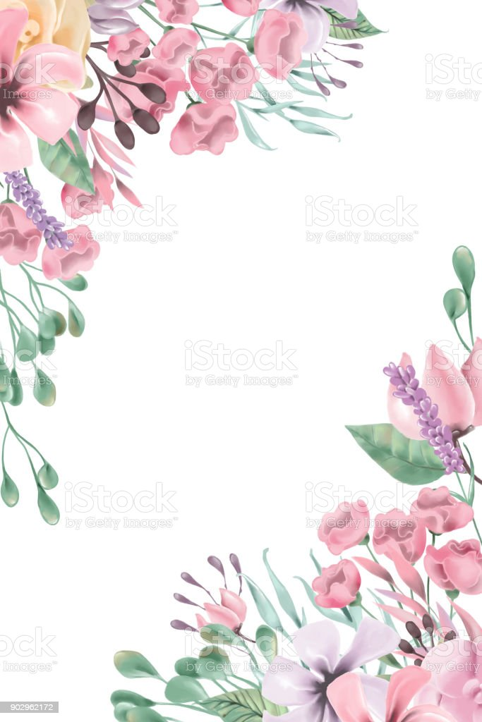 Beautiful Watercolor Flowers Floral Corners Frame Border Royalty Free