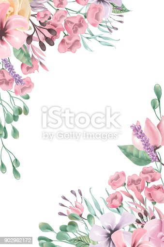 beautiful watercolor flowers floral corners frame border