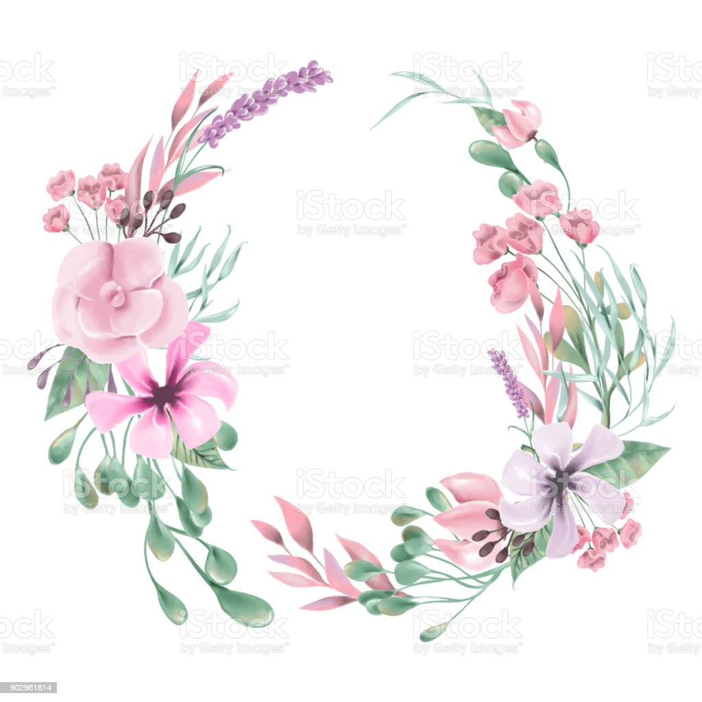 Beautiful Watercolor Flowers Floral Wreath Round Circle Frame Royalty Free
