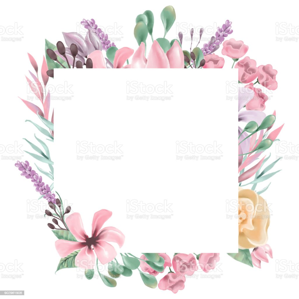 Beautiful Watercolor Flowers Floral Wreath Square Frame Stock Vector