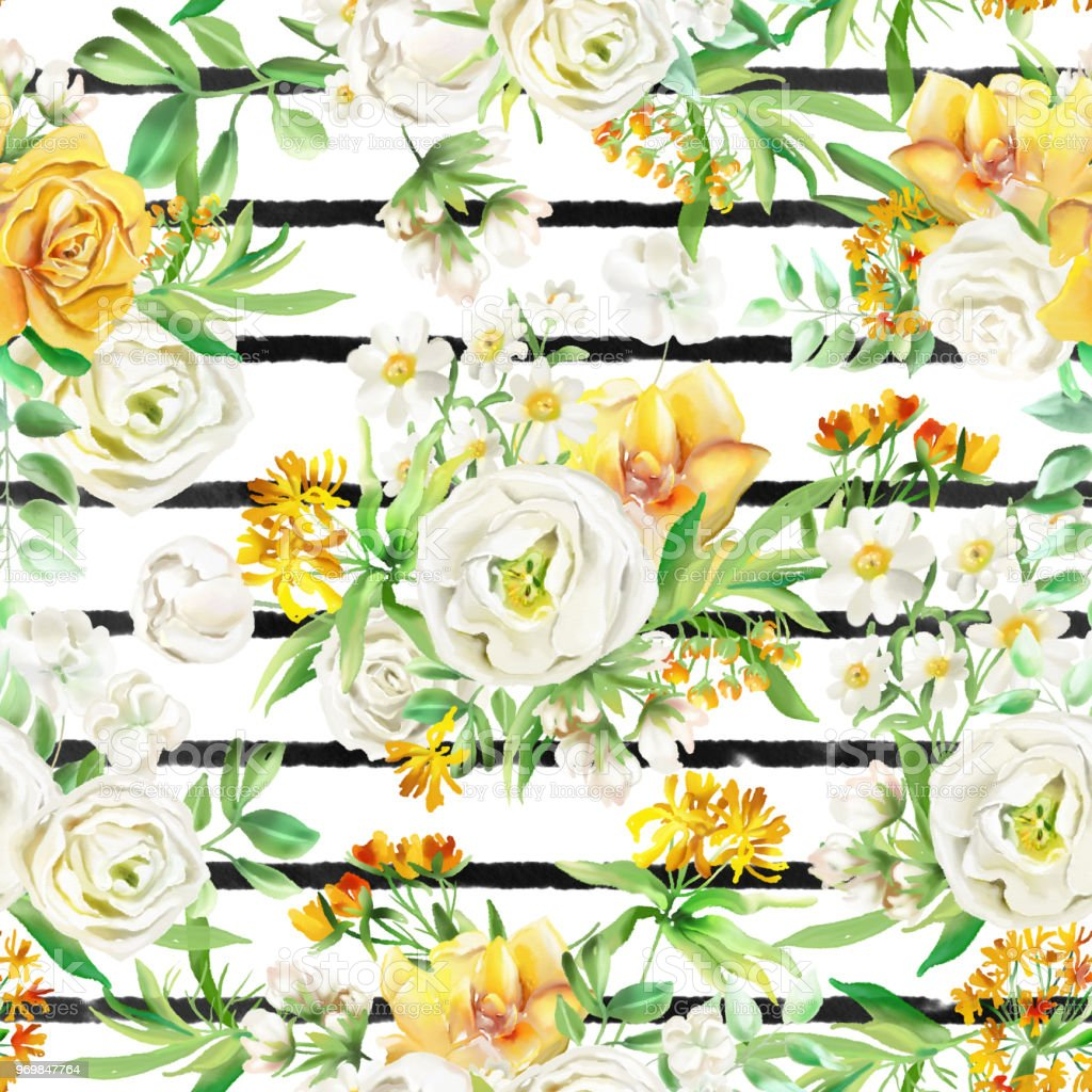 Beautiful Watercolor Flowers Seamless Pattern On White Background