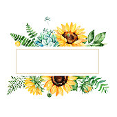 Beautiful watercolor frame border with sunflowers
