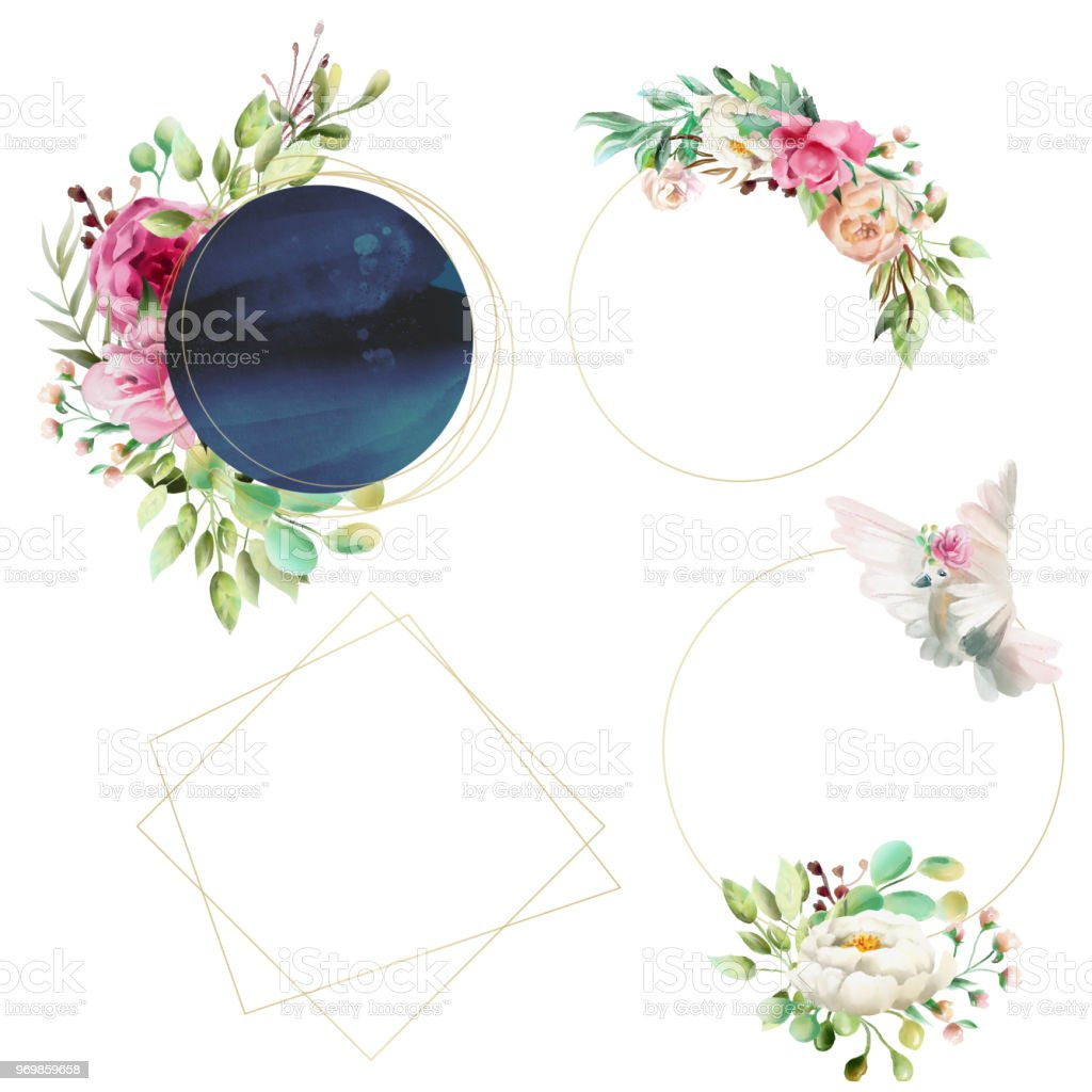 Beautiful Watercolor Golden Shiny Frames With Black Shape Flowers ...