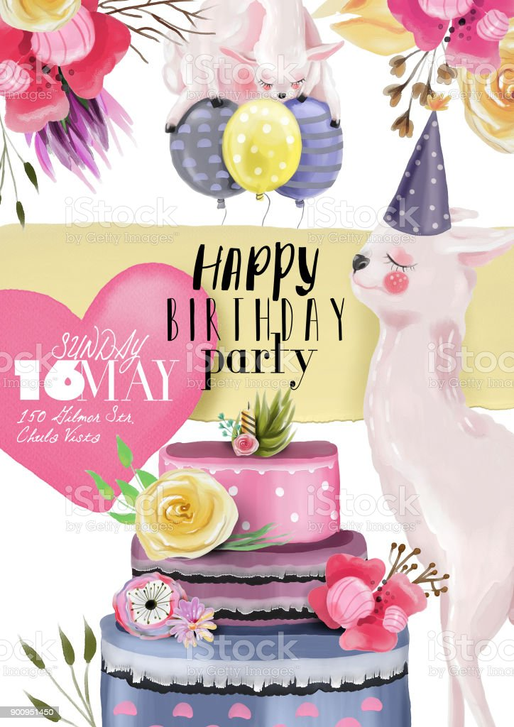 Beautiful Watercolor, Hand Drawn Llama, Alpaca Happy Birthday Card Layout,  Template Royalty   Birthday Card Layout