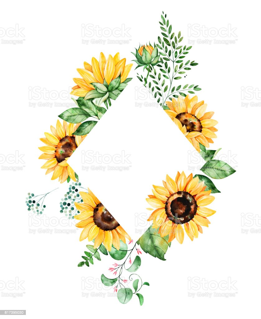 Beautiful Watercolor Rhombus Frame Border With Sunflowers ...