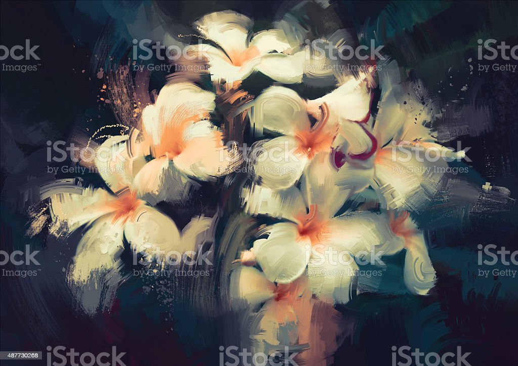 beautiful white flowers in dark background vector art illustration