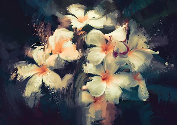 beautiful white flowers in dark background painting showing beautiful white flowers in dark background still life stock illustrations