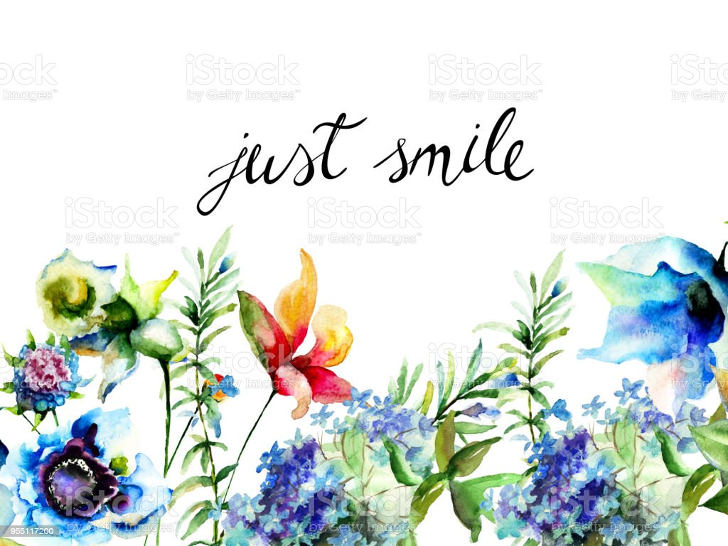 Beautiful Wild Flowers With Title Just Smile Stock Illustration Download Image Now