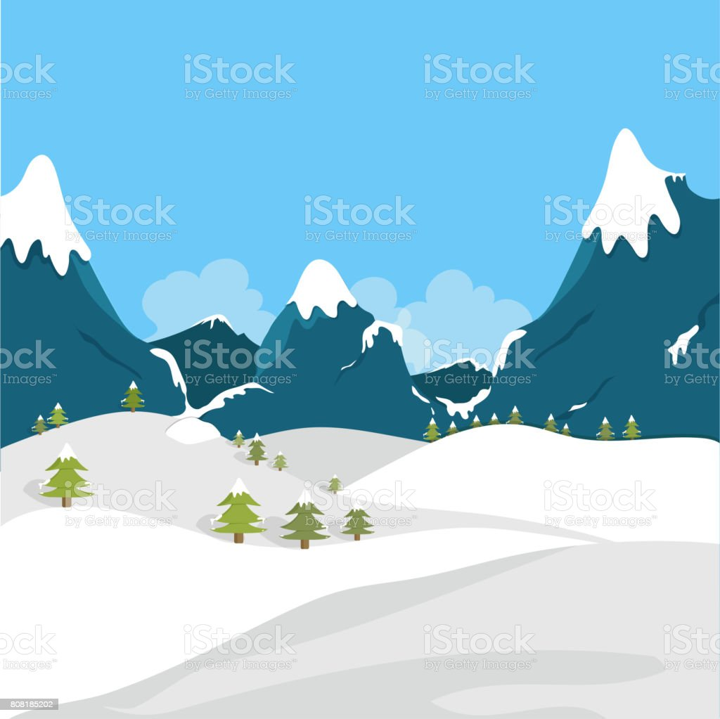 Beautiful Winter Landscape With Snowy Field And Snow Covered Mountains Royalty Free