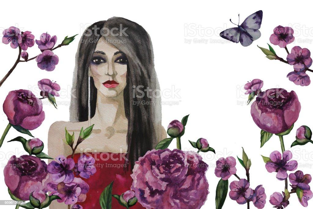 Hermosa mujer y flores fondo aislado. Ilustración acuarela de pintado a mano - Ilustración de stock de Abstracto libre de derechos