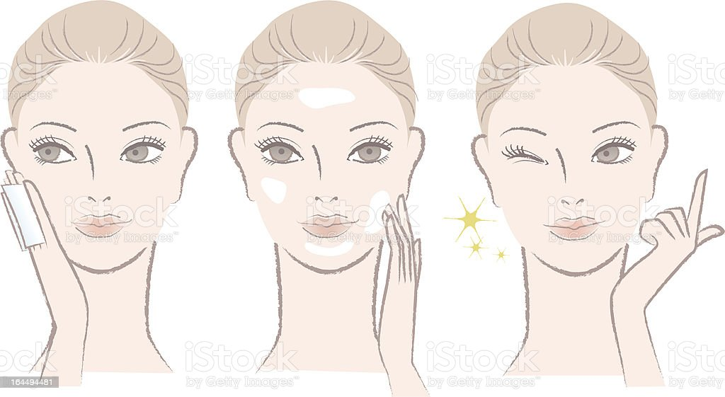 Beautiful woman applying skincare lotion, cream on the  face vector art illustration