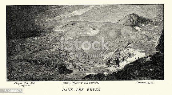 istock Beautiful woman asleep dreaming, dans les reves, Victorian art 19th Century 1340568973