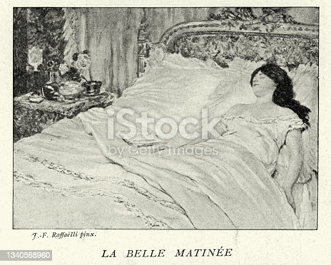 istock Beautiful woman asleep in bed, Le Belle Matinée, The Beautiful Morning, French Victorian art 19th Century 1340568960