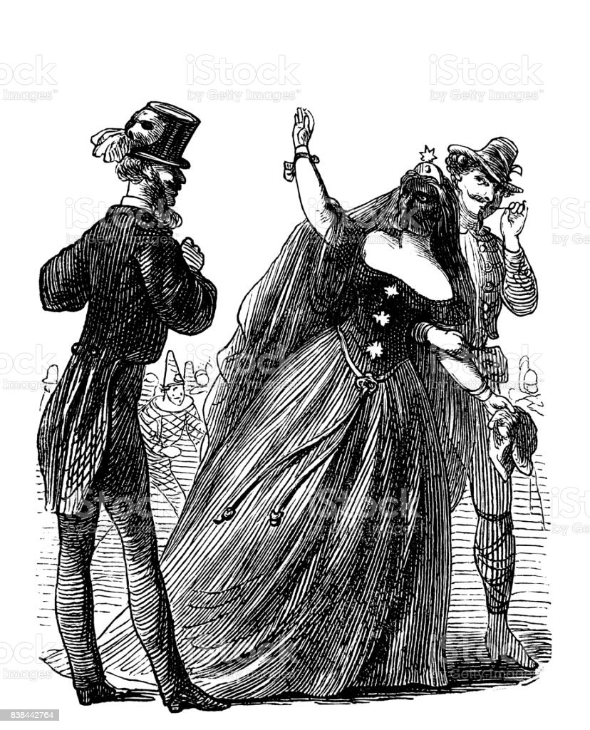 Beautiful woman at the mask ball is adored by two young men - 1867 vector art illustration