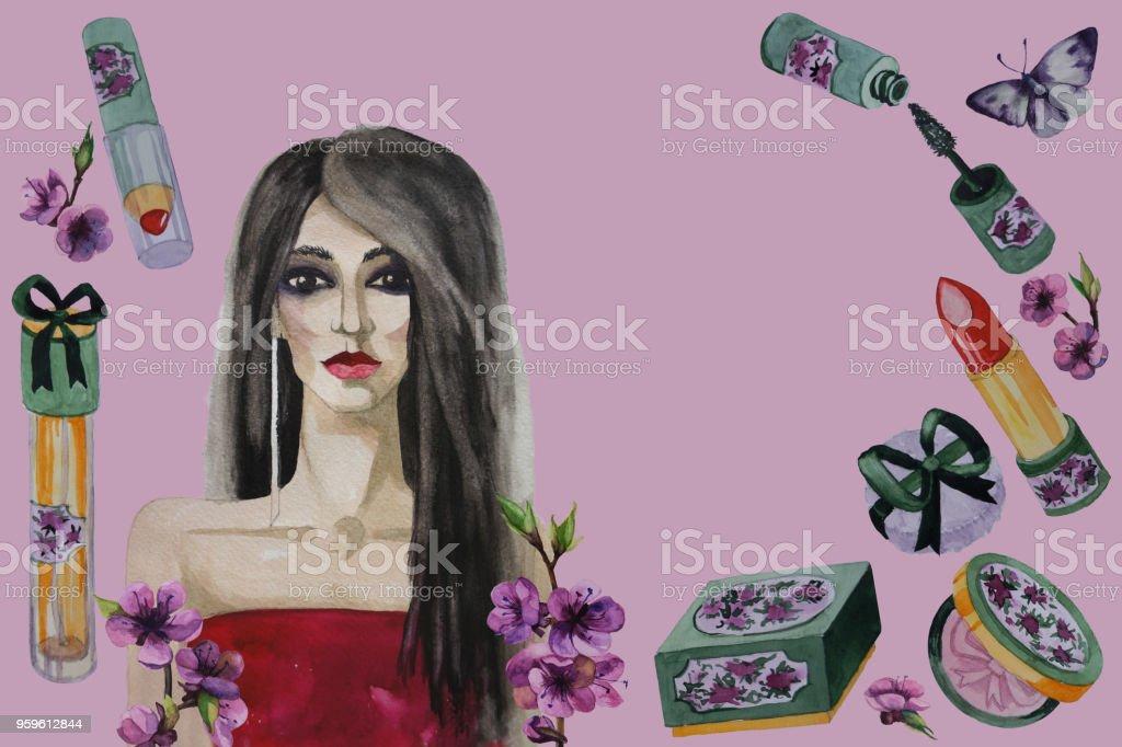 Hermosa mujer, flores y fondo aislado de cosmética decorativa. Ilustración acuarela de pintado a mano - Ilustración de stock de Adulto libre de derechos