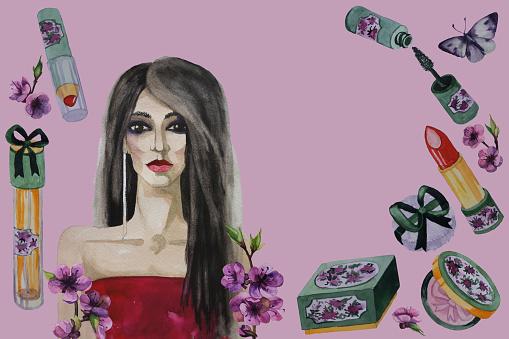 Ilustración de Hermosa Mujer Flores Y Fondo Aislado De Cosmética Decorativa Ilustración Acuarela De Pintado A Mano y más Vectores Libres de Derechos de Adulto