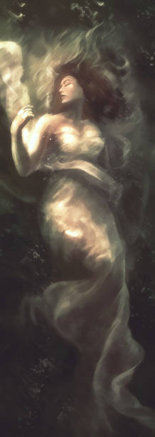beautiful woman in long white dress underwater vector art illustration