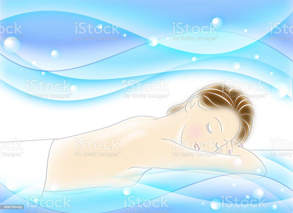 Hermosa mujer lying on bed - ilustración de arte vectorial
