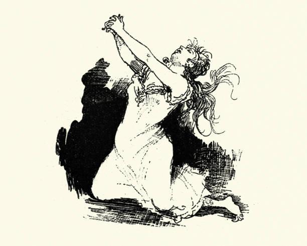 Beautiful woman on her knees pleading, 19th Century vector art illustration