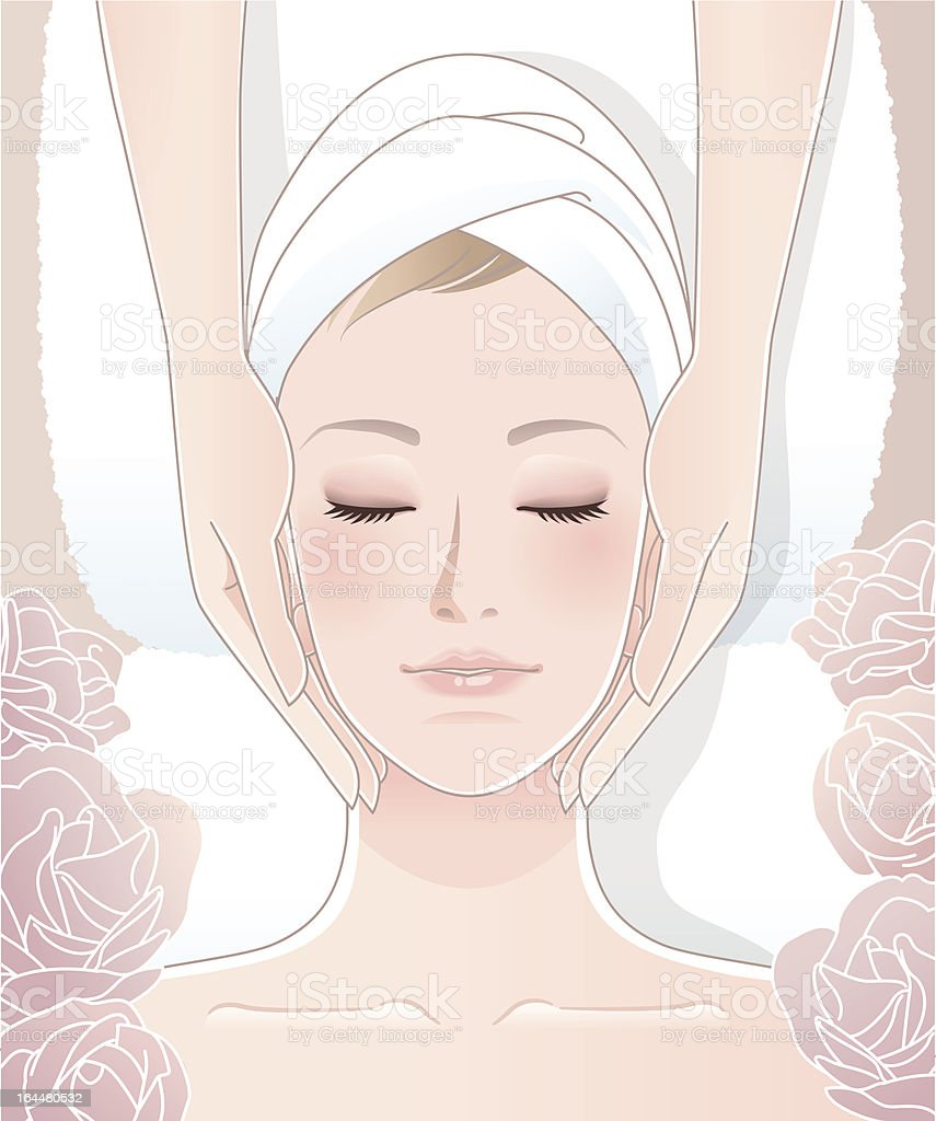 Beautiful woman receiving facial massage vector art illustration