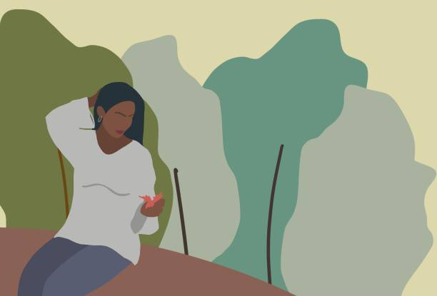 beautiful women in nature - living a sustainable lifestyle stock illustrations