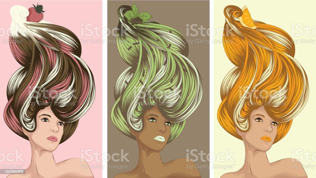Beautiful women with ice cream hair royalty-free stock vector art