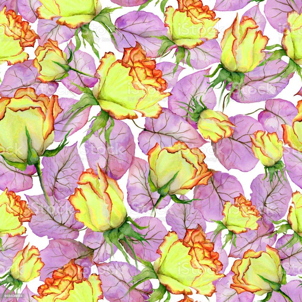 Vetor De Lindas Rosas Amarelas E Vermelhas E Folhas No Fundo Branco