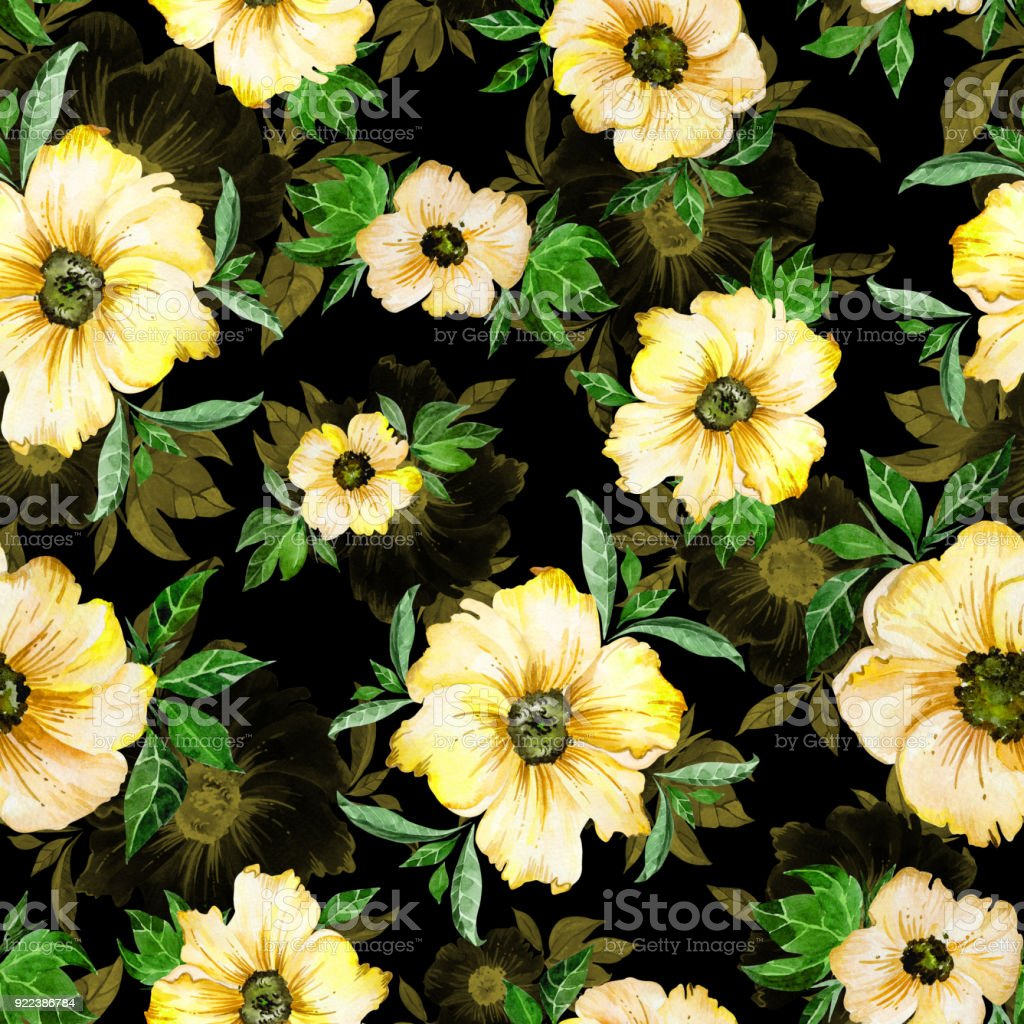 Beautiful Yellow Simple Flowers With Green Leaves On Black