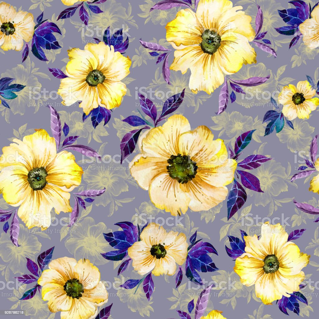 Beautiful Yellow Simple Flowers With Purple Leaves And Their