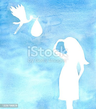 Beautiful young pregnant woman. The stork is carrying a baby.