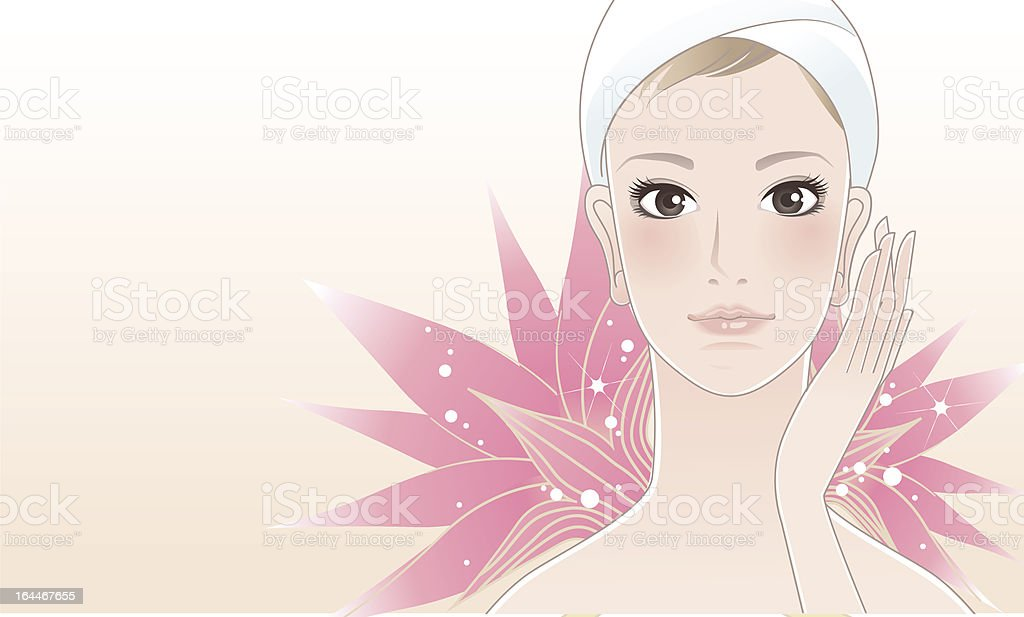 Beautiful young woman after beauty treatment vector art illustration