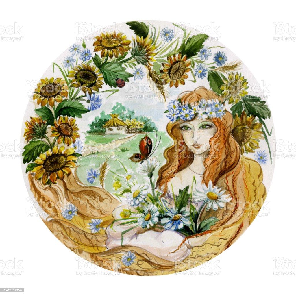 Hermosa Mujer Joven En Una Guirnalda Con Ramo De Flores Sobre Fondo ...