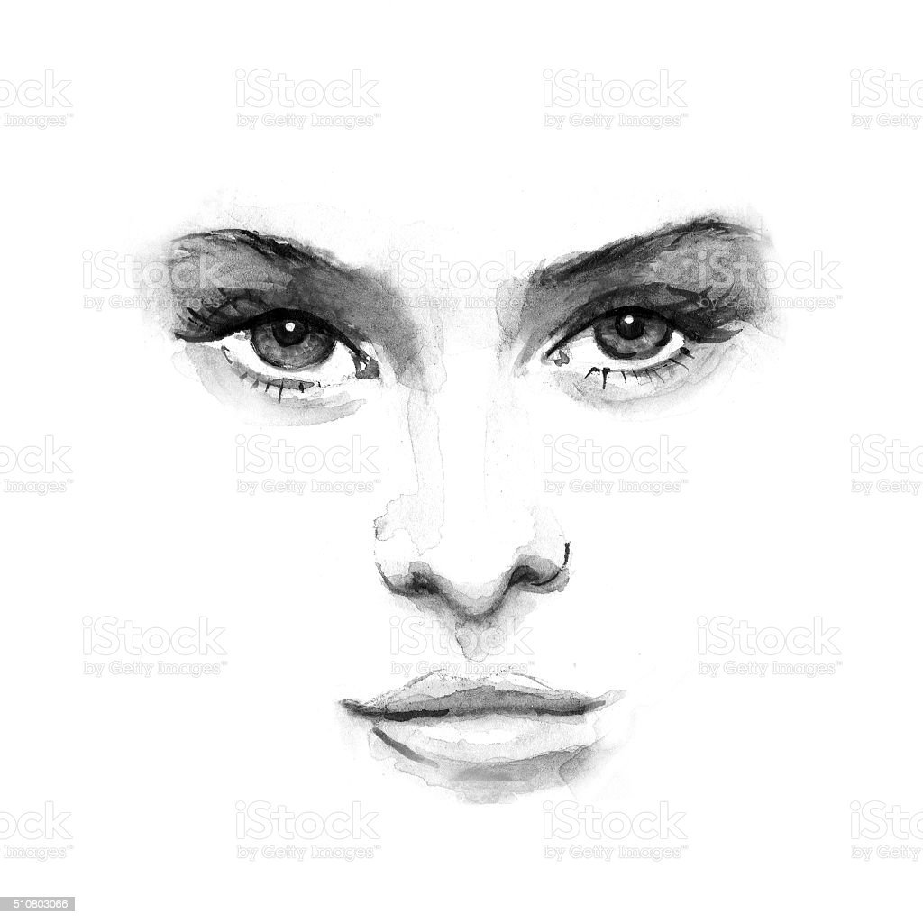 beauty face 1. Black and white watercolor vector art illustration