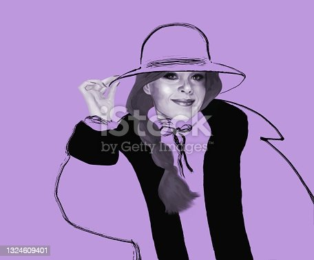 istock Beauty illustration of a woman in a wide-brimmed hat with a long braid 1324609401