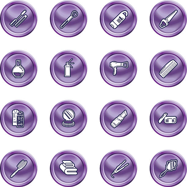 Beauty products icon set vector art illustration