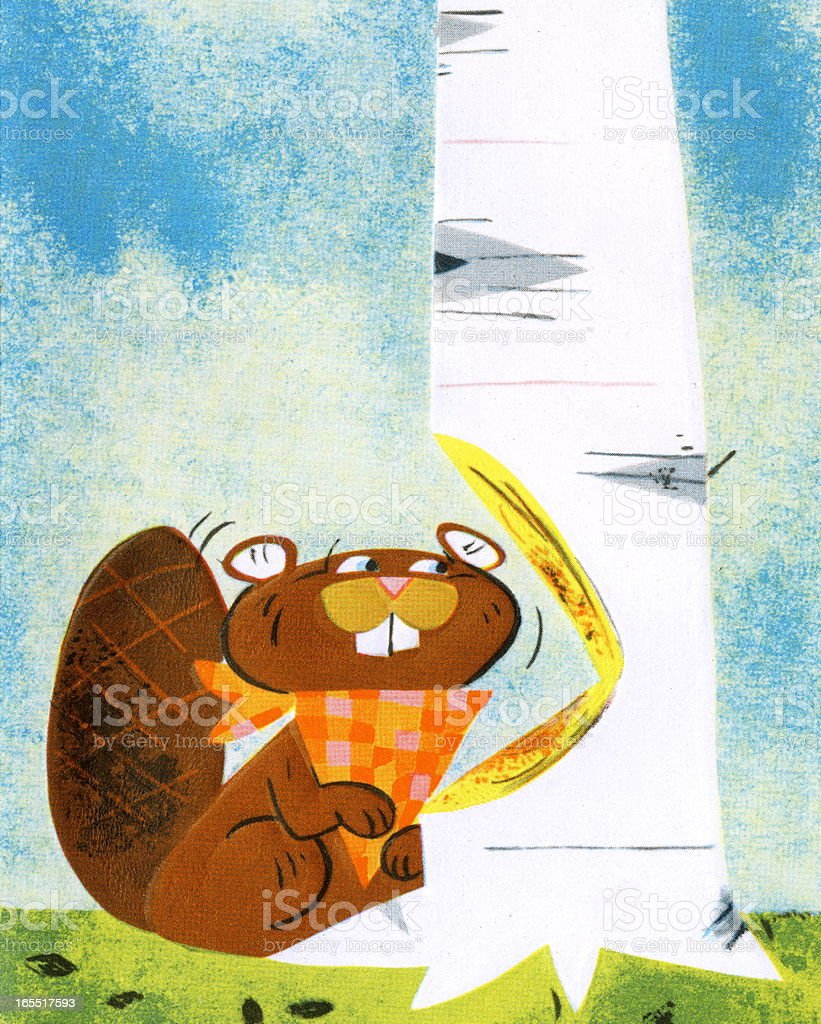 Beaver Chewing a Birch Tree royalty-free stock vector art