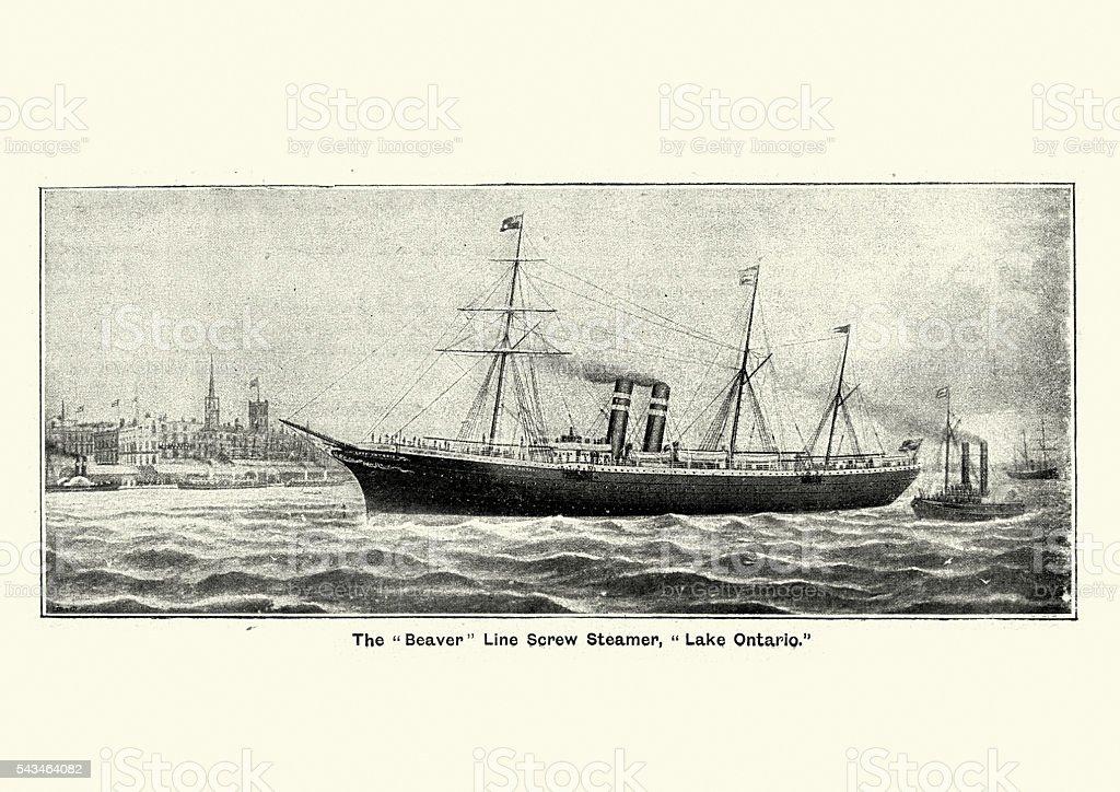 Beaver Line Screw Steamer, Lake Ontario, 1894 vector art illustration